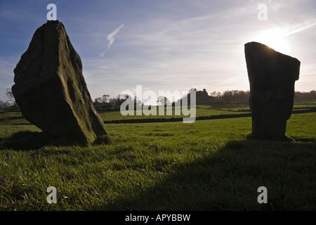 Neun Steinen engen Steinkreis und Robin Hood zu schreiten, Harthill Moor, Peak District, Derbyshire - Stockfoto