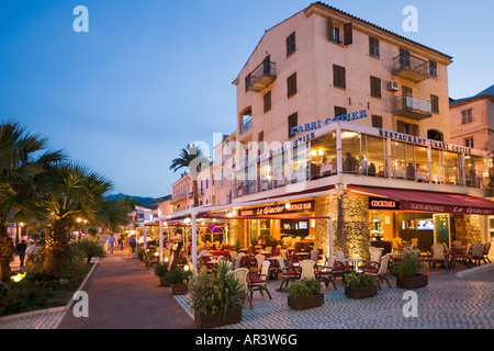 Restaurant am Quai Landry, Harbourfront, Calvi, Balagne, Korsika, Frankreich - Stockfoto