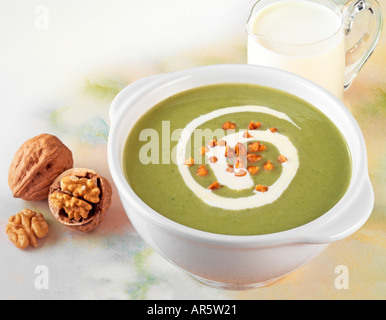 BRUNNENKRESSE-SUPPE MIT WALNÜSSEN - Stockfoto