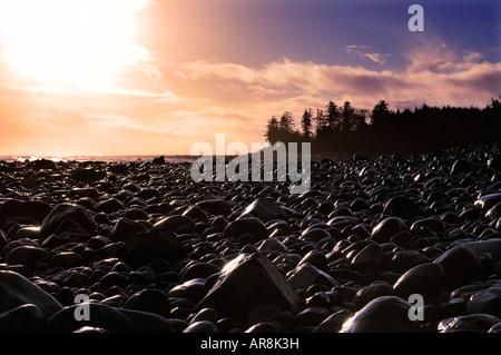 Sonnenaufgang über den Strand in der Nähe von Tlell, Haida Gwaii - Stockfoto