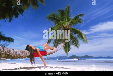 Frau Palme über Sandstrand auf der Insel La Digue Handauflegen - Stockfoto