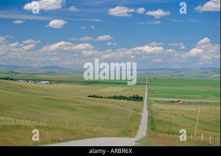Straße über Prairie Wheatlands, südlich von Calgary, Alberta, Kanada - Stockfoto