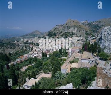 Blick vom griechisch-römischen Theater, Taormina, Sizilien, Italien, Europa - Stockfoto