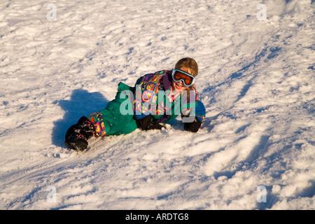 Rutscht der Schnee Mt Ruapehu Central Plateau Nordinsel Neuseeland - Stockfoto