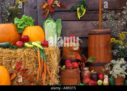 Amerikanische Rückgang der Ernte auf dem Display auf dem Bauernmarkt - Stockfoto