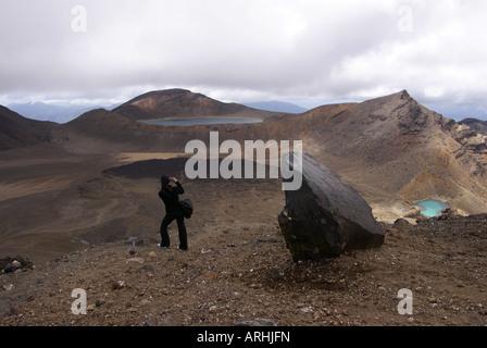 Die Ausblicke vom Gipfel des Red Crater Mount Tongariro - Stockfoto