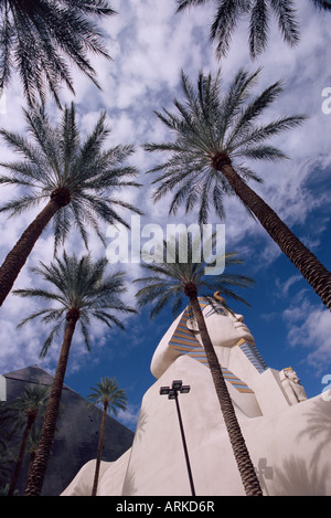 Replikat Sphinx und Palmen Bäume, Luxor Hotel, Las Vegas, Nevada, USA, Nordamerika - Stockfoto
