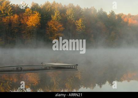 Nebel über den Teich auf ein Herbstmorgen - Stockfoto