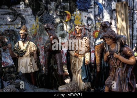 Krippen-Szene religiöse Statuen und Figuren in der Nähe von Caacupé Paraguay - Stockfoto
