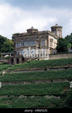 Dresden, Schloß Lingner (Villa Stockhausen), Blick Über Die Elbe - Stockfoto