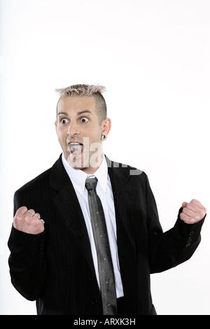 Studioaufnahme von isolierten Bild eines seltsamen Geschäftsmann mit piercing und Tätowierungen - Stockfoto
