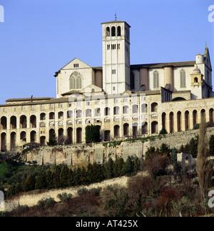 Geographie / Reisen, Italien, Assisi, Kirchen, Kirche San Francesco, Basilika und Kloster, Außenansicht, gebaut - Stockfoto