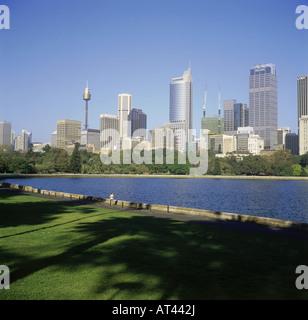 Geographie/Reise, Australien, New South Wales, Sydney, Blick vom botanischen Garten, Innenstadt, Skyline, Wolkenkratzer, - Stockfoto