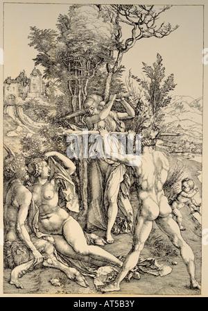 Bildende Kunst, Dürer, Albrecht (1471-1528), Kupferstich, 'Die Entscheidung des Herakles' (Herakles die Entscheidung), - Stockfoto