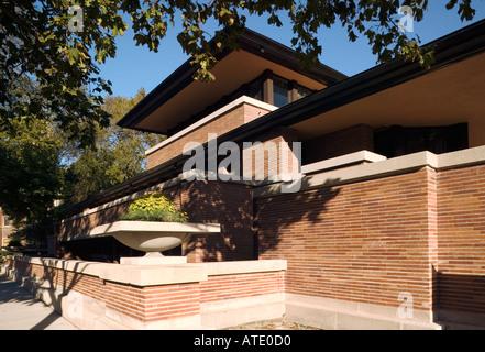 Das Robie House (von Frank Lloyd Wright}, Hyde Park, Chicago, Illinois, USA - Stockfoto