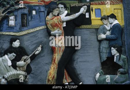 Wandbild Darstellung Tango-Tänzer in La Boca, Buenos Aires, Argentinien - Stockfoto
