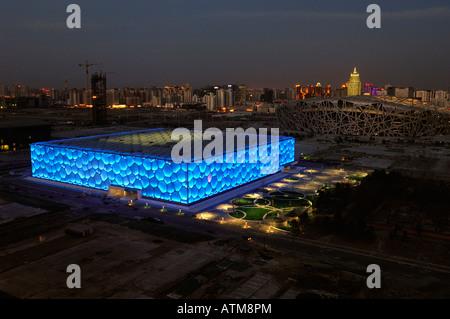 Nationales Schwimmzentrum und Nationalstadion für die Olympischen Spiele 2008 in Peking.  29. Februar 2008 - Stockfoto