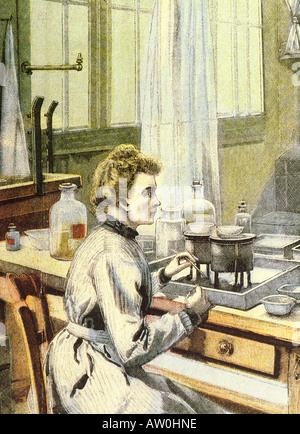MARIE CURIE polnische geboren, französischer Physiker und Nobelpreisträger 1867 bis 1934, die Arbeit auf den Röntgenaufnahmen - Stockfoto