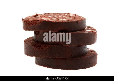 Rohen ungekochten Blutwurst Frühstück Wurst Isoliert gegen einen weißen Hintergrund mit keine Menschen und einen - Stockfoto