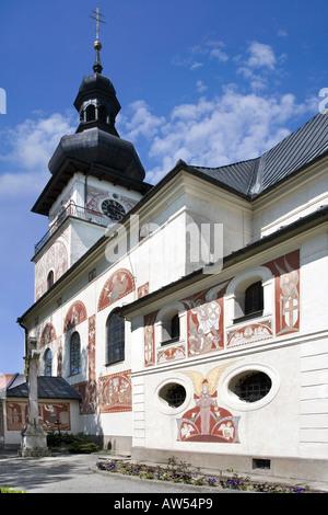 Kirche St. Kunigunde Sgraffito 1928 K Nemec Vratislav Square Nove Mesto Na Morave CR - Stockfoto