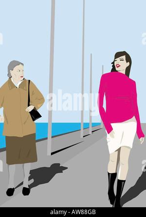 Alte Frau eifersüchtig mit Blick auf junge schöne Frau vorbei - Stockfoto