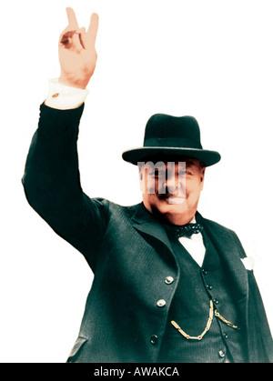 WINSTON CHURCHILL (1874-1965) seine berühmten V für den Sieg geben melden Sie als britischer Premierminister im - Stockfoto