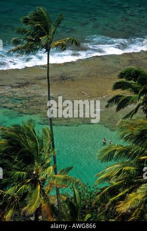 zwei Personen in einem offenen Ozean Gezeiten schwimmen pool Kauai - Stockfoto
