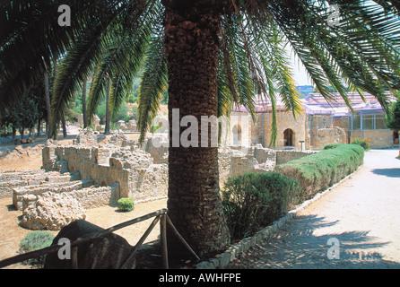 Italien, Sizilien, Piazza Armerina, Villa Romana del Casale, bleibt der Villa gesehen vom Schatten der Palme im - Stockfoto