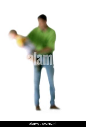 Silhouette der Vater mit Sohn, auf weißem Hintergrund unscharf gestellt - Stockfoto