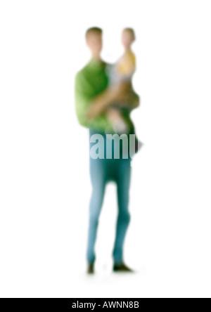 Silhouette der Mann Holding Kind auf weißem Hintergrund unscharf gestellt - Stockfoto