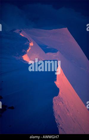Alpenglühen auf überwechteten Grat Denali Peak Mt Mckinley Alaska - Stockfoto