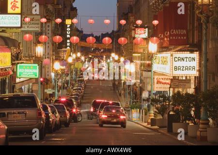 Grant Avenue in Chinatown in der Nacht San Francisco Kalifornien, USA - Stockfoto