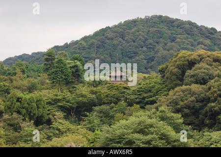 Eine Pagode zwischen den bewaldeten Hügeln des Kiyomizu-Dera Tempel, Higashiyama District, Kyoto, Japan - Stockfoto