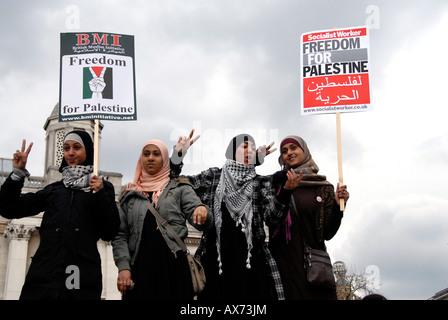 Stoppen Sie die Krieg-Demonstration 15. März 2008 Freiheit für Irak & Palästina & Afghanistan. - Stockfoto