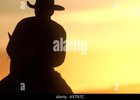 Cowboy zu Pferd bei Sonnenuntergang in Oregon als silhouette - Stockfoto