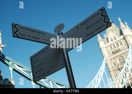 London Borough of Southwark Tower Bridge Südseite Themse Finger Post weist auf Gebietsschema Eigenschaften & Sehenswürdigkeiten - Stockfoto