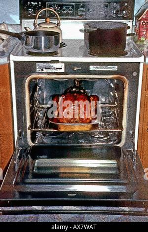 Einen traditionellen, amerikanischen Urlaub, Bild von einem goldenen Braun Türkei in den Ofen am Thanksgiving Day - Stockfoto