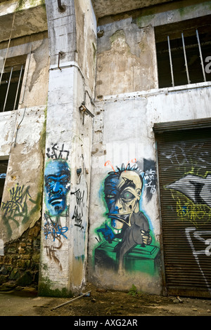 Graffiti in einer Brownfield-Website-Fabrik in Vichy (Frankreich). Graffiti Dans Une Usine Désaffectée de Vichy - Stockfoto
