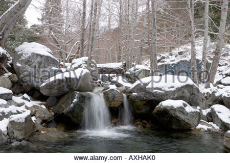 Graffiti hinter kleinen Wasserfall Mount Baldy Angeles National Forest Kalifornien - Stockfoto