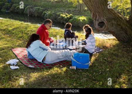 Familie Picknick am Flussufer in Richmond Park, Surrey. UK - Stockfoto