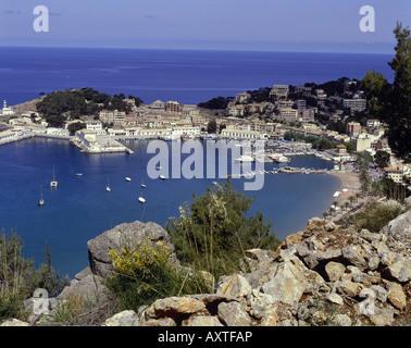 Geographie / Reisen, Spanien, Balearen, Mallorca, Puerto de Soller, Übersichten, Hafenbecken, Hafen, Dorf - Stockfoto
