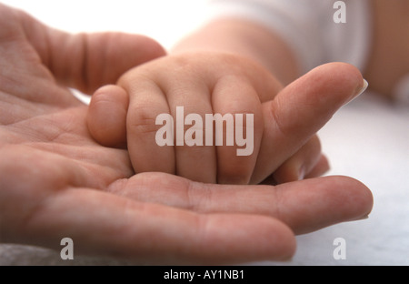 Baby Hand, die Finger der Mütter - Stockfoto