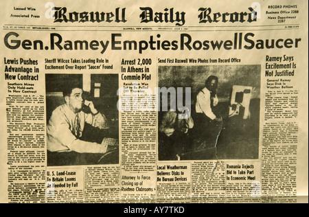 Schlagzeilen aus der ursprünglichen Titelseite der Roswell Daily Record, Berichterstattung über UFO Absturz in der - Stockfoto