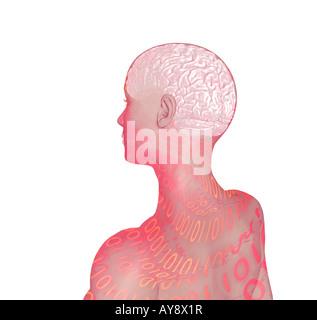 CGI-Klon Avatar Roboter Frauenkopf mit Gehirn zeigen menschliche Figur künstliche Intelligenz - Stockfoto