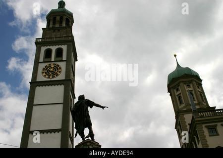 Perlach-Turm und Rathaus Augsburg Bayern Deutschland - Stockfoto