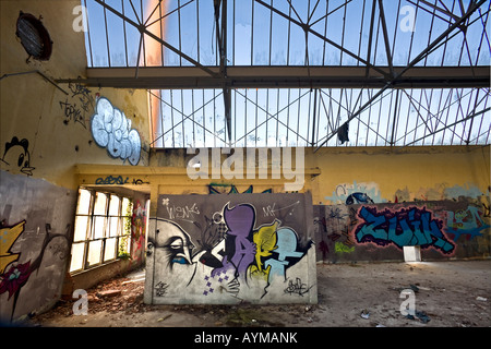 Graffiti in einer Brownfield-Website-Fabrik. Graffiti Dans Une Usine Désaffectée. - Stockfoto