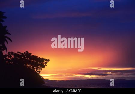 Sonnenuntergang - in der Nähe des Dorfes Chembe, Cape Maclear, Lake Malawi, Malawi - Stockfoto