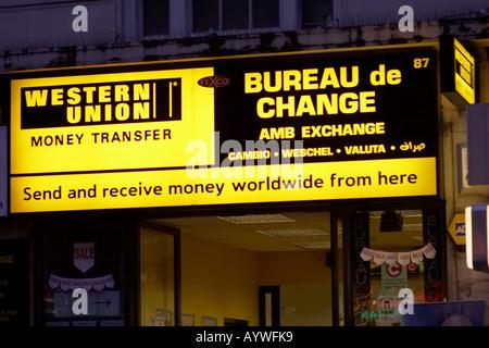 Bureau de change und western union zeichen in london