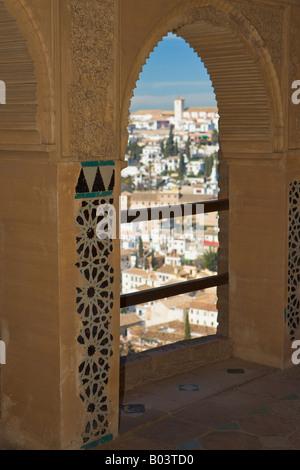Anzeigen der Albayzin (Altstadt) vom Turm der Damen (Torre de Las Damas), die Alhambra (La Alhambra) - Stockfoto