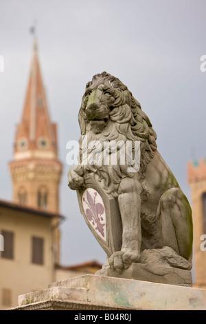 Löwenstatue in Piazza della Signoria, Florenz, UNESCO-Weltkulturerbe, Provinz Florenz, Toskana - Stockfoto